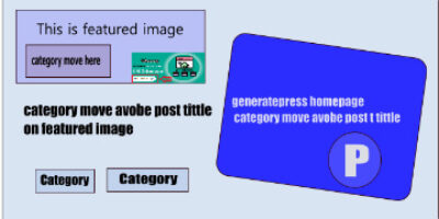 Generatepress Homepage Category move on Featured image ( avobe post tittle )
